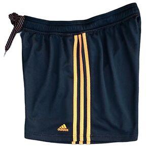 """Adidas Women's 5"""" Mesh Shorts Size Large Black With Orange Stripes F82988 EUC"""