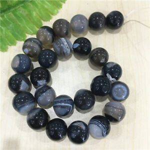 """15mm Nice Black&White Druzy Geode Agate Faceted Ball Loose Bead 15.5"""" L9-TZ003"""