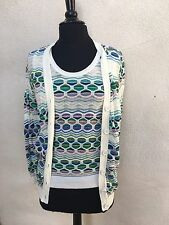Missoni Top With Sweater Twin Set Chevron Print White Blue Purple Sz 6