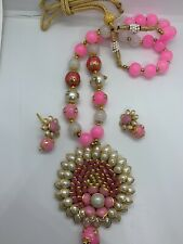 Pakistani Ethnic Pearl Pink Rani Haar Necklace Handmade Earrings Jewelry Set