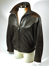 Andrew Marc Jacket Coat Brown Leather Bomber Lambskin Size M