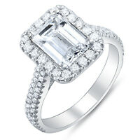 2.10 Ct. Emerald Cut w/ Round Cut Halo Diamond Engagement Ring G,VVS2 GIA 14K