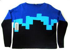 APRIORI Pull 38 oversize carrée noir bleu turquoise angora neuf avec étiquette