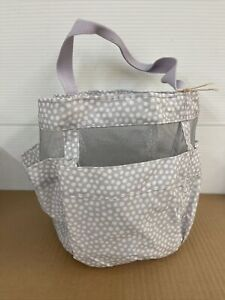 POTTERY BARN DORM ROUND GREY DOTS SHOWER CADDY NEW WITH TAGS