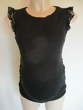 H&M MAMA MATERNITY CHARCOAL LACE SLEEVE FINE KNIT JUMPER TANK TOP SIZE M 12-14