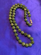 Beautiful Vintage Spinach Green Jade Bead Necklace with Gold Tone Clasp; 23.5""