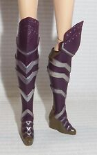 SHOES ~ BARBIE DOLL WONDER WOMAN ANTIOPE OVER THE KNEE PURPLE SILVER HERO BOOTS