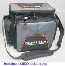 Fisherman Gift Idea Soft Sided Fishing Tackle Bag w/ 4 Large Storage Boxes Trays