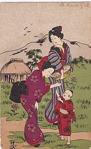 K 439 - China, color, Zeichnung, Kind und Mutter, etwa um 1908 gelaufen