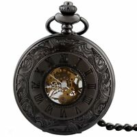 Antique Mechanical Wind up Pocket Watch Black Vintage Fob Chain Retro Steampunk