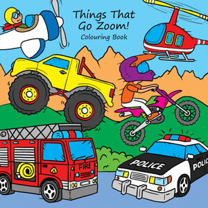 Childrens Colouring Books Things That Go Zoom Vehicles Transport For Boys Kids