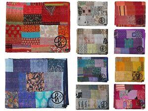 Kantha Quilt Indian Handmade Silk Patola Coverlet All Color Gudari Boho Blankets