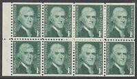 UNITED STATES BKT PANE:1967 1c green dull gum SCOTT #1278a  never-hinged mint