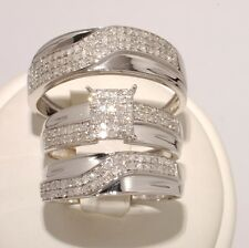 White Gold & Diamond Trio Bridal Ring Wedding & Engegement Ladies &Men Set B/New