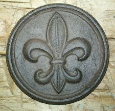 Cast Iron Fleur De Lis Plaque Finial Garden Sign Home Wall Decor Rustic Brown