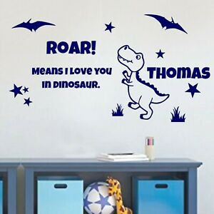 Dinosaur Personalised Name Wall Art Stickers Boys Bedroom Nursery Decal