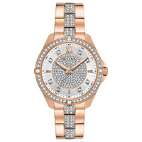 Bulova Quartz Women's Swarovski Crystal Accents Rose-Gold Tone 35mm Watch 98L229