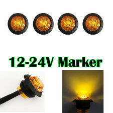 """4X 3/4"""" Round Side Marker LED Clearance Truck Trailer Boat BUS SUV Light Amber"""