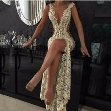 Sexy Champagne Lace Mermaid Prom Gowns Sleeveless Evening Formal Dress Custom