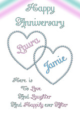 A5 personalised printed card Happy Anniversary Valentines Day Love