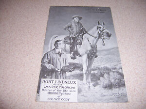 1922 ROBERT LINDNEUX PAINTING of BUFFALO BILL COL. W.F. CODY ANTIQUE POSTCARD