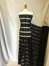 """NEW High Class Black Corded Stretch Floral Border Lace Fabric 50"""" 128 cm Dress"""