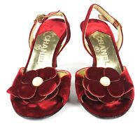 Chanel Red Velvet Floral Heels - US 5 - 35 - Pearl Camellia Shoes Leather