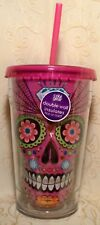 Cool Gear Tumbler PINK FLEUR SUGAR SKULL 18 oz Reusable Cup HOT COLD Halloween