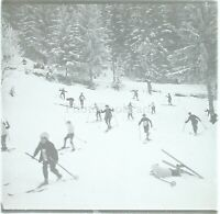 FRANCE Alpes Montagne Ski Sport D'Hiver, Photo Stereo Plaque Verre VR3L9n1
