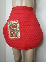 Unbranded Waist Apron Red Poinsettia Christmas Holiday One Pocket Vintage USA
