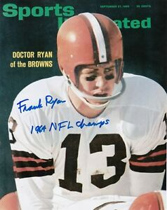 FRANK RYAN CLEVELAND BROWNS 1964 NFL CHAMPS SPORTS ILLUSTRATED COVER SIGNED 8x10