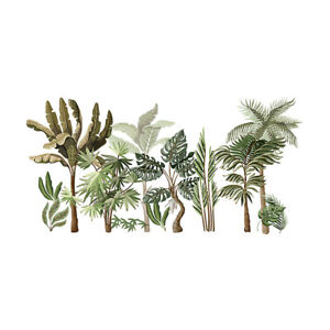 Tropical Plants Wall Decals Palm Tree Banana Leaves Self Adhesive Stickers Decor