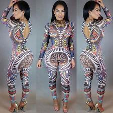 Women Laides Long Sleeve Bodycon Romper Jumpsuit Clubwear Bodysuit Long Pants AU