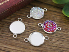 12mm Silver Plated Connector Setting | Fit 12mm Cabochon | 16pcs