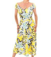 Amarillo Nuevo con Textura Estampado Floral Bardot Vestido - Rodilla Longitud