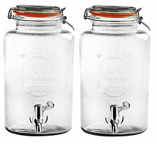 2 x Kilner 5L chiaro BIBITE DISPENSER barbecue per party VINO COCKTAIL BEVANDE Soda Birra