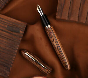 New Moonman M6 Handmade Natural Wood Fountain Pen F/M/Bent Nib Writing Gift Pen