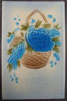 Birthday Postcard Blue Flowers Basket Antique Embossed