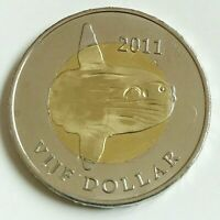 2012 SAINT EUSTATIUS 5 DOLLARS BLOWFISH , CARIBBEAN NETHERLANDS BIMETALLIC COIN