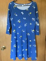 NWT Old Navy Dress Women's Size Medium Blue Floral Ponte Knit