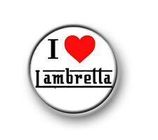 "I LOVE / I HEART LAMBRETTA 1"" / 25mm pin button / badge / scooter / bike / MOD"