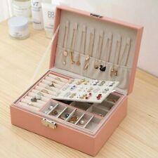 Boîte à bijoux en velours à Double couche,  boîte de rangement en cuir, cadeau