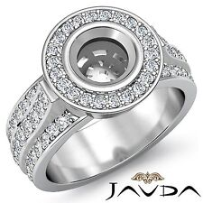 Diamond Engagement Ring Bezel Round Semi Mount 18k White Gold Halo Pave 1.65Ct