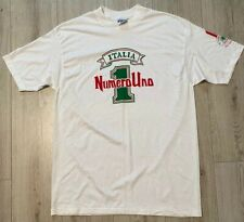 Vtg Italia Numero Uno 1 XL White TShirt Italy One Pasta Restaurant Single Stitch