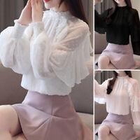 Womens Summer Chiffon Long Sleeve Plain Ruffled Frill Shirts Summer Tops Blouse