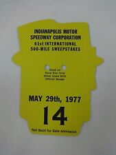 1977 Indianapolis 500 Back Up Card # 14 for Pit Badge Credential IndyCar Indy500