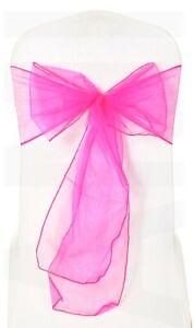 Hot Pink Organza Chair Sashes Sash Full Wider Bows Wedding Party Decor 1 10 50