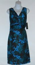 Jones Wear Ladies Semi Wrap Neckline Floral Cocktail Dress Teal Multi 12 NWT