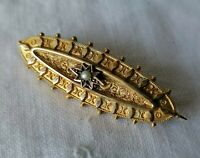 Antique Star Seed Pearl Gilt Gold Plated Victorian Sweetheart Repousse Brooch