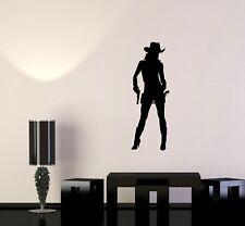 Wall Sticker Vinyl Decal Cowboy Girl Cowgirl with Guns Hat Western (g107)